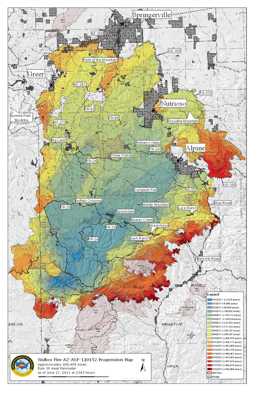 Wallow Fire Progression Map June 18