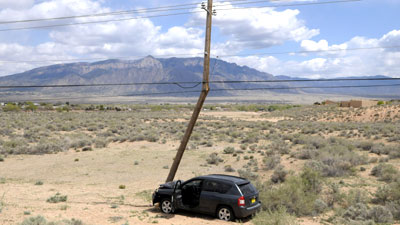 Car Hits Pole In Rio Rancho