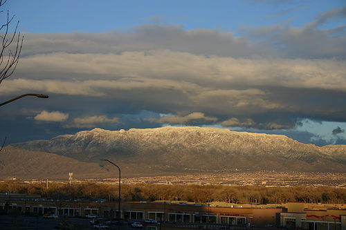 Snow capped Sandia Mountians at sunset